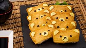 """วิธีทำ """"ซูชิฟองเต้าหู้"""" เมนูอาหารญี่ปุ่นทำง่าย ลายคุณหมีน่ารักเกินห้ามใจ!"""
